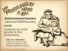 "Grandiloquent Word of the Day: Schmutzwortsuche (shmootz-VOHRT-zoo-che) Verb: -Looking up rude words in the dictionary. From German ""schmutz"" - smudge or dirty + ""wort"" - word + ""suche"" - search. Used in a sentence: ""We spent most of our library time. Rude Words, Big Words, Words To Use, Small Words, Cool Words, Unusual Words, Unique Words, Beautiful Words, Thesaurus Words"
