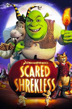 Shrek challenges Donkey, Puss in Boots and his other fairy tale character friends to spend the night in Lord Farquaad's haunted castle, telling scary stories to see who can resist becoming scared and stay the longest. Not Scary Halloween Movies, Kid Friendly Halloween Movies, Harry Potter Halloween, Halloween Fun, All Dreamworks Movies, Dreamworks Animation, Animation Movies, Kid Movies, Family Movies