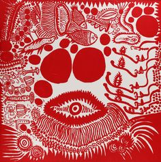 Yayoi Kusama WATCHING A FESTIVAL WITH WIDE-OPEN EYES 2010 / Synthetic polymer paint on canvas / 194 x 194cm