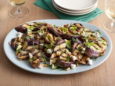 Grilled Eggplant and Goat Cheese Salad from FoodNetwork.com - we added some fresh tomatoes on top. This recipe was awesome and the eggplant does not get mushy.