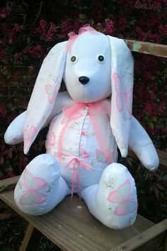 Memory  Keepsake Bunny made from a cute butterfly shirt. Look me up on Facebook, Creative Crafts by Dawn