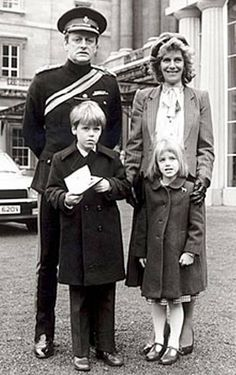 Camilla Parker Bowles with her first husband Andrew Parker Bowles and their children: Thomas (Tom) and Laura