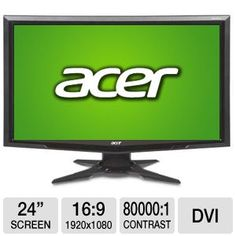 """Acer G245HQ 24"""" Class Widescreen LCD Monitor - 1920 x 1080, 16:9, 80000:1, 5ms, DVI, VGA, Energy Star  Item#: A179-2360     Model#: ET.UG5HP.A01  4.8 Read reviews (133)   Write a review     Email  Print    Quantity:    Save to wishlist  ADD EXTRA PROTECTION with SquareTrade Warranty  Learn More  SquareTrade 2-Year Electronics Warranty  $13.98    SquareTrade 3-Year Electronics Warranty  $20.98    List Price:  $179.99  Instant Savings:  - $40.03  (22%)  Price:  $139.96"""
