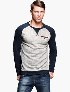 Men Kuegou Korean Style Elbow Patch Color Panel Tee for Men | Item Code 709649 at m.trendy21.com