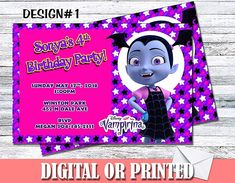 Amazon.com: Vampirina Personalized Birthday Invitations More Designs Inside!: Handmade Personalized Birthday Invitations, Unicorn Birthday Invitations, Christening Invitations, Baby Shower Invitations, Sixteenth Birthday, 16th Birthday, Pink Birthday, Sweet 16 Birthday, Elegant Invitations