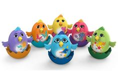Adorable musical DigiChicks! These cute little birds sing alone or together in a choir. http://www.mastermindtoys.com/DigiChick-Assorted.aspx