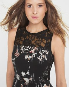 The We enhanced this ladylike design with a floral print and black lace yoke. White House Black Market | Dresses