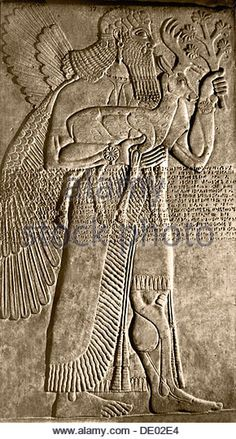 Stone bas-relief of a winged protective spirit carrying a deer, Assyrian, c875-860 BC. Artist: Werner Forman - Stock Image