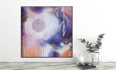 Sacred Geometry Art Original Artwork, Original Paintings, Sacred Geometry Art, Acrylic Painting Flowers, Flower Of Life, Boho, Tapestry, Hand Painted, Wall Art