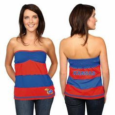 Kansas Jayhawks Ladies Royal Blue-Crimson Striped Rebound Tube Top