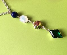 $24.00. SECRET CODE NECKLACE. Love, love, love!! Lapis, Opal, Vitrail, Emerald = LOVE. And don't we all need a little more of that??? Favorite vendor strikes again.