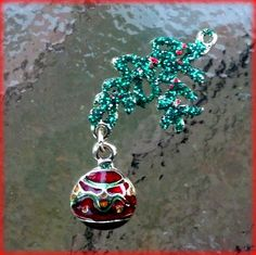 Red and Green Ornament Charm Gold finished  with by TheIndigoRaven, $5.00