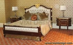 Classic furniture Victorian divan bedroom set with antique brown and gold leaf, reproduction furniture using Mahogany wood frame classic carving from Jepara
