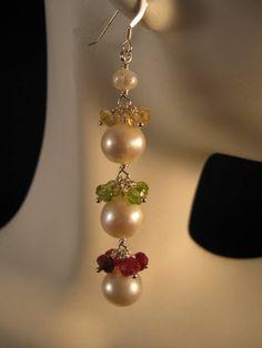 Gemstone Pearl Cluster Earrings - gemstone earrings, white pearl earrings, peridot earrings, citrine earrings, ruby earrings. $38.50, via Etsy.