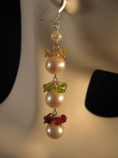 Gemstone Pearl Cluster Earrings - gemstone earrings, white pearl earrings, peridot earrings, citrine earrings, ruby earrings. $38.50, via Etsy.