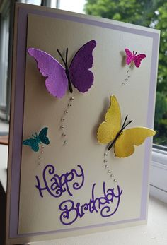 Butterfly card A5 Butterfly Birthday Cards, Simple Birthday Cards, Butterfly Cards, Handmade Birthday Cards, Happy Birthday Cards, Flower Cards, Greeting Cards Handmade, Card Birthday, Spellbinders Cards