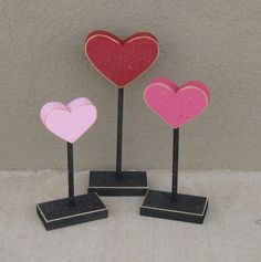 3 Tall Standing Heart block set / valentines day decor
