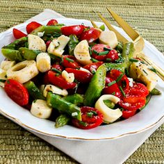 Vegan Asparagus Salad for Spring with Tomatoes, Hearts of Palm and Chives @Kalyn's Kitchen