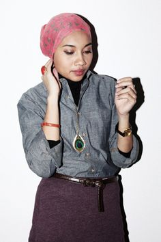 """Songstress Yuna Zarai's Hijab-Chic Style #refinery29  http://www.refinery29.com/malaysian-musician-yuna-zarai-s#slide3  Who are your music and style heros?  """"Fiona Apple, Nina Persson, Feist, Lykke Li. Style-wise it's Kate Lanphear!""""Yuna wears an American Apparel shirt, Zara belt, Casio watch, Forever 21 necklace, and a vintage scarf."""