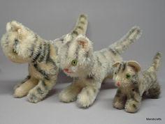 Hermann #Tabby #Cat Family x 3 Mohair Plush Striped 7- 12cm 3- 5in standing c1960s #Hermann AllOccasion