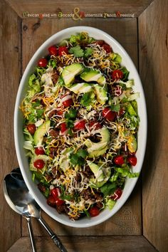 Mexican Salad with Avocado & Buttermilk Ranch Dressing | FamilyFreshCooking.com