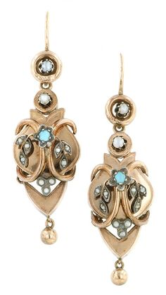 Victorian earrings set with turquoise and pearls, in 14k rose gold and silver. Circa 1880, from Doyle & Doyle.