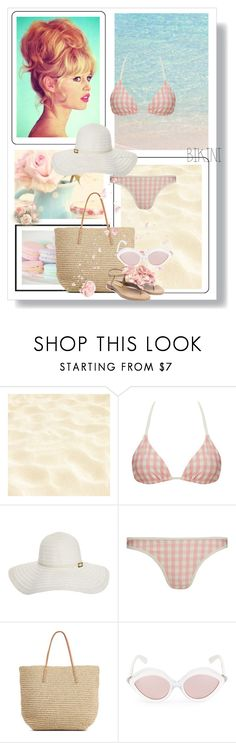 """""""Get the Look: Brigitte Bardot Swimsuit Edition"""" by dezaval ❤ liked on Polyvore featuring Seed Design, Claudia Schiffer, Solid & Striped, Melissa Odabash, RetroSuperFuture, Rupert Sanderson, GetTheLook and Swimsuits"""