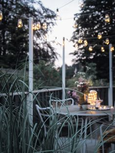 DIY Outdoor Hanging String Lights - monsterscircus Outdoor Gazebos, Outdoor Spaces, Porch Lighting, Outdoor Lighting, Outdoor Decor, String Lights Outdoor, String Lighting, Lighting Design, Monsters