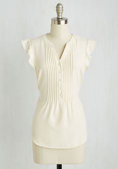 Expert In Your Zeal Top in Vanilla by ModCloth - Cream, Solid, Buttons, Pleats, Work, Sleeveless, Woven, Good, Exclusives, Variation, V Neck, Mid-length, SF Fit Shop