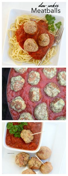 Recipes | These Slow Cooker Meatballs are so easy to make and are the perfect appetizer dipped in marinara or alfredo sauce. Also great on top of your favorite pasta.