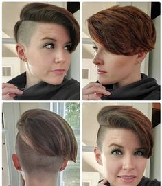 Half Shaved Hair, Shaved Nape, Shaved Sides, Shaved Side Hairstyles, Short Hairstyles For Women, Trendy Hairstyles, Unisex Haircuts, Undercut Ponytail, Short Hair Cuts
