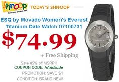 Save 85% ESQ by Movado Women's Everest Titanium Date Watch  Model    07100731 https://www.shnoop.com/ Offer for today only..!!