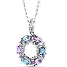 Sterling Silver Swiss Blue Topaz and Pink Sapphire Hexagon Pendant Necklace