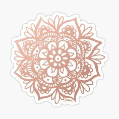 A lovely pink mandala flower in a beautiful rose gold tone. For more mandala designs visit my Redbubble shop! julieerindesign.redbubble.com • Millions of unique designs by independent artists. Find your thing. White And Gold Decor, Black White Gold, Blue Gold, Png Tumblr, Cute Laptop Stickers, Diy Stickers, Silver Wedding Decorations, Vsco, Mandala Canvas