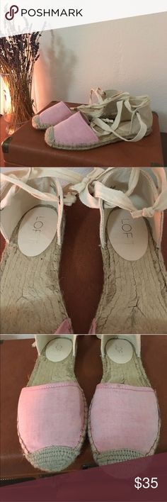 LOFT ballet style sandals These are some cute ballet style sandals from LOFT. This I a size US 7. They are a light pink. They have been used two times and as so you can see they are used (you can see it in the pics) LOFT Shoes Sandals