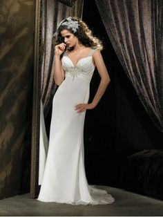 Ruched Bodice V-Neckline Column Wedding Dress
