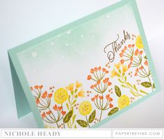Wildflower Garden Thanks Card by Nichole Heady for Papertrey Ink (January 2017)