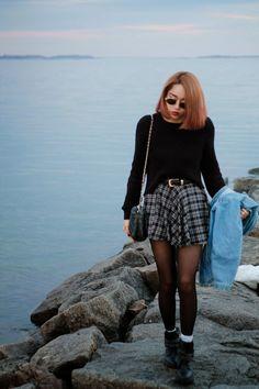 plaid skirt, black details