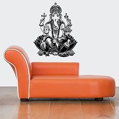 Wall Vinyl Sticker Decals Mural Room Design Pattern Ganesha Elephant Yoga Hindu bo490