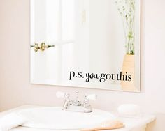 Mirror Decal Bathroom Wall Decal Bathroom by designNmore on Etsy