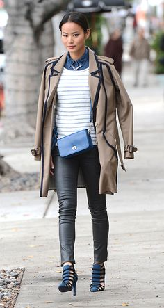 Spotted in Coach: Jamie Chung with the Penny Shoulder Purse. Image Courtesy of Splash News.