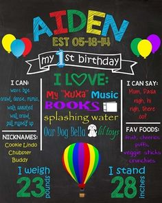 Birthday Chalkboard Poster Sign • Balloon Theme • Free economy shipping • Fast turnaround time • Great customer service • These birthday boards are custom, high resolution digital files that are personalized for each customer upon order