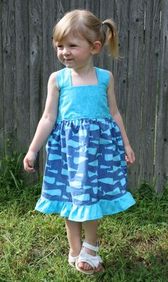 petunia golfish handmade clothes- etsy-.   Favorite Like this item?  Add it to your favorites to revisit it later.  Great Blue Whale Dress Toddler Girl 18M - 5T Nautical Ocean Stretchy Halter