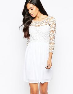 Club L Crochet Skater Dress with 3/4 Sleeves - White