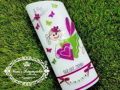 Taufkerzen - Taufkerze Schutzengel Mädchen - ein Designerstück von Manus-Kerzenzauber bei DaWanda