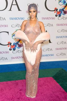 A look back at the history of the naked dress and all the daring women who have worn it over the years: Rihanna at the CFDA Awards