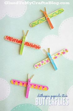 Clothespin Popsicle Stick Butterflies - Kid Craft