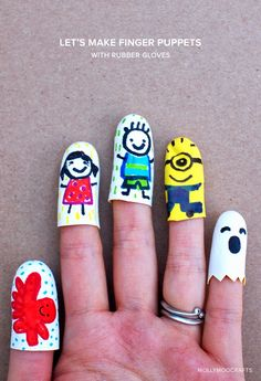 Rubber glove finger puppets! Super easy and fun way to encourage creativity and imagination!
