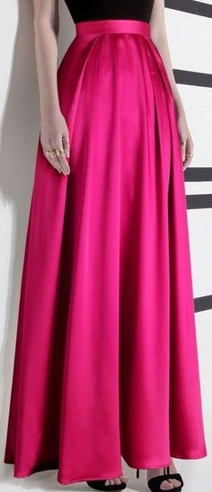 Long Pink Pleated Maxi Skirt