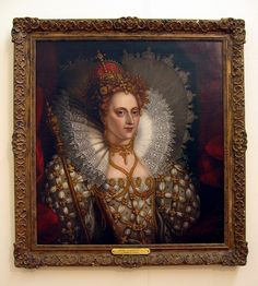 Queen Elizabeth I - Photo of an original oil painting hanging along with other British Monarchs, in Government House - Wellington, NZ.